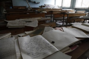 School in the Pripyat - ghost town, left 25 years ago after catastrophe on Chernobyl Nuclear plant 26 April 1986.