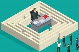 Bureaucrat in the maze. People stand in a queue. Bureaucracy concept. Flat 3d vector isometric illustration